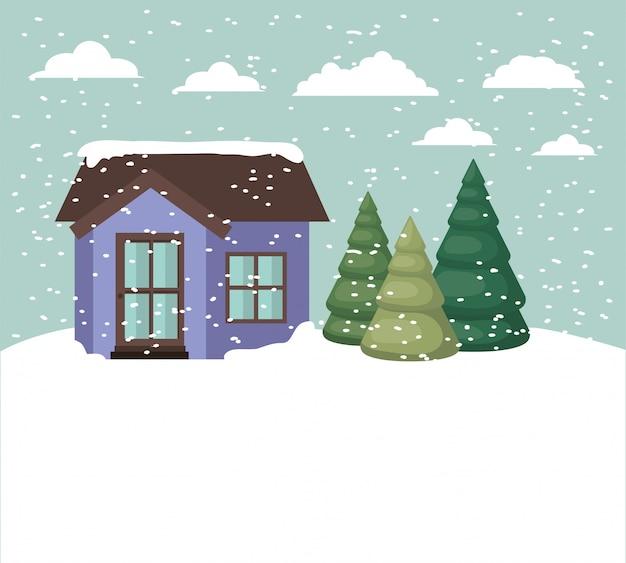 Snowscape con casa carina Vettore gratuito