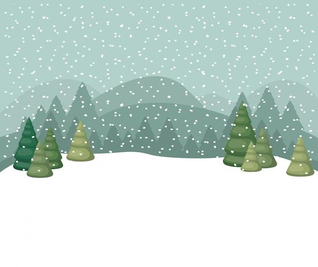 Snowscape con scena di foresta di pini Vettore Premium