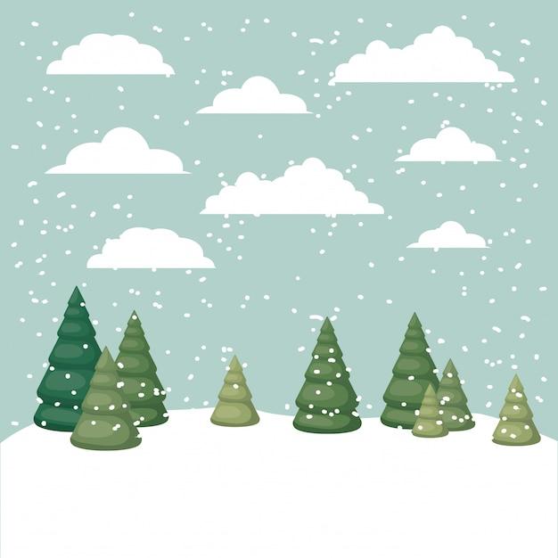Snowscape con scena di pini Vettore Premium