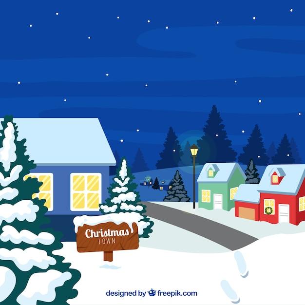 Snowy ospita il paesaggio notturno Vettore gratuito