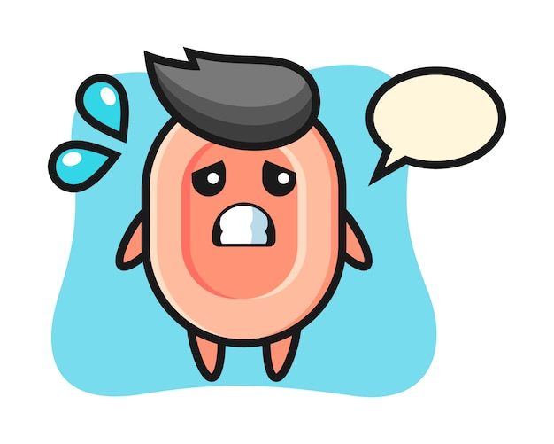 Soap personaggio mascotte con gesto impaurito, stile carino per maglietta, adesivo, elemento logo Vettore Premium