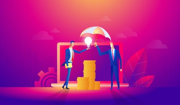 Soci d'affari che parlano del concetto di progetto Vettore Premium