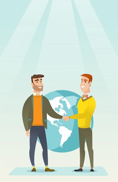 Soci d'affari si stringono la mano. Vettore Premium