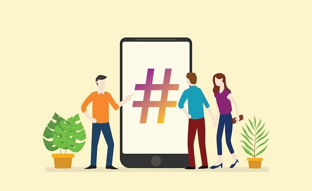 Social hashtag business Vettore Premium