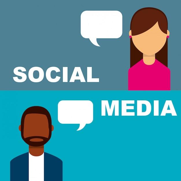 Social media banner persone discorso bolla parlando Vettore Premium