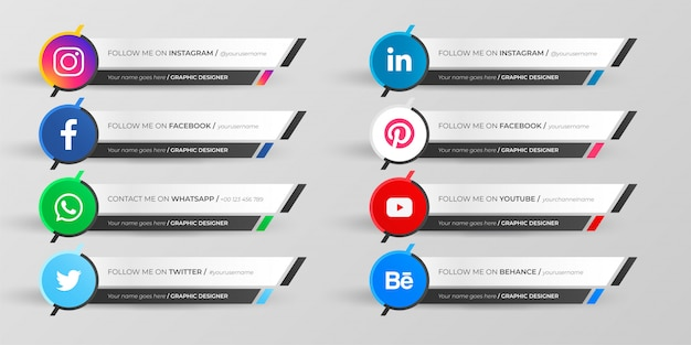 Social media inferiore terza raccolta Vettore gratuito