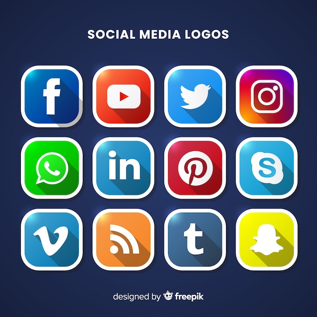 Social media logo collectio Vettore gratuito