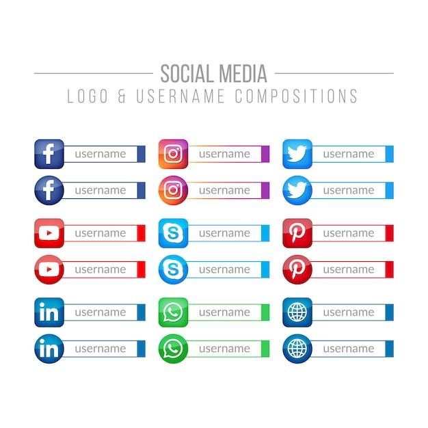 Social media logo e composizioni username Vettore Premium