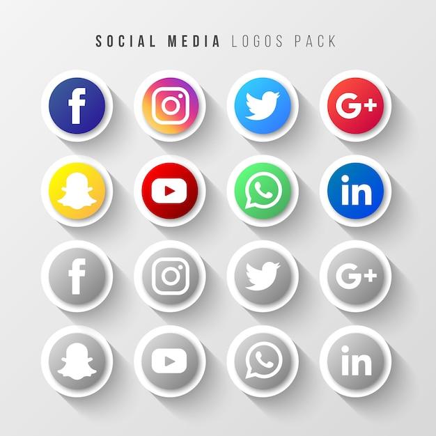 Social media logos pack Vettore gratuito