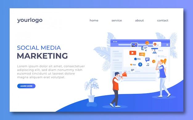 Social-media-marketing-landing-page-design Vettore Premium