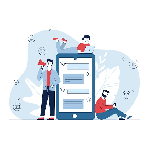 Social media marketing Vettore gratuito