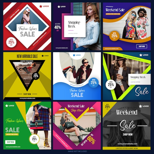 Social media pack per il marketing digitale Vettore Premium