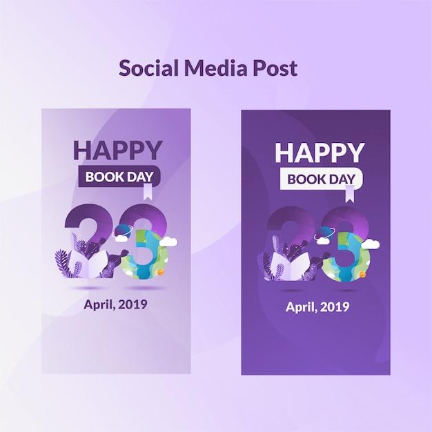 Social media post banner giornata internazionale del libro Vettore Premium
