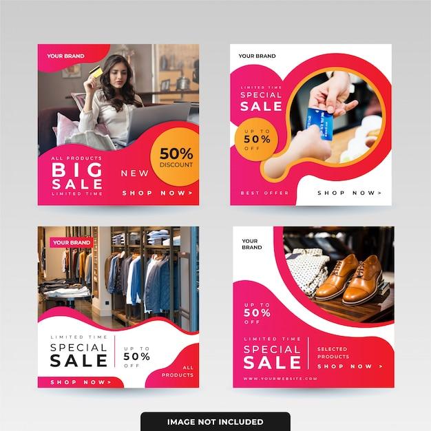 Social media post template design pack Vettore Premium