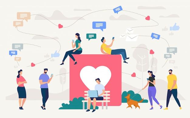 Social network community, digital marketing Vettore Premium
