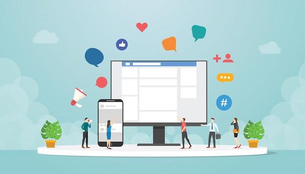 Social network o social media su app mobile per computer e smartphone con icona di persone e dispositivi con moderno stile piatto Vettore Premium