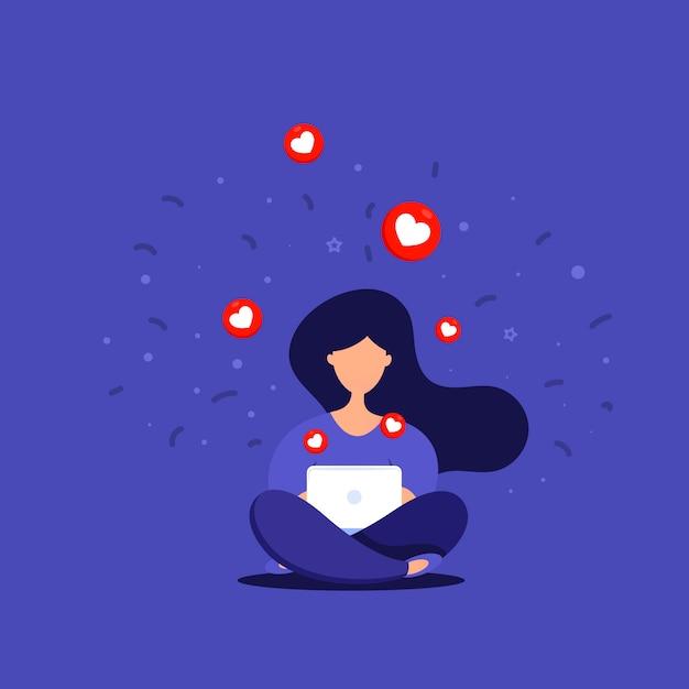 Social networks. giovane donna felice che sta con uno smartphone che si siede in una chiacchierata del parco Vettore Premium