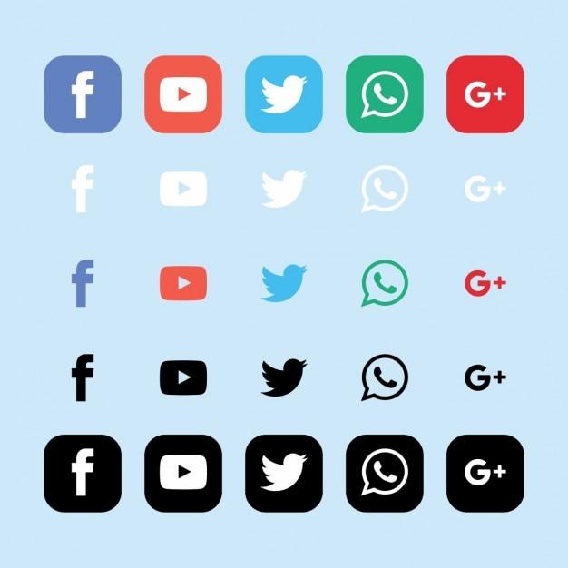 Sociale collezione di icone di rete Vettore gratuito