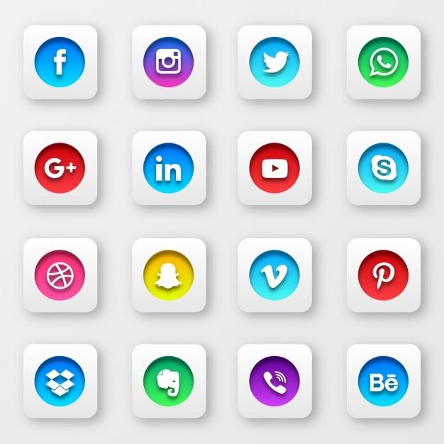 Sociale raccolta pulsanti di rete Vettore gratuito
