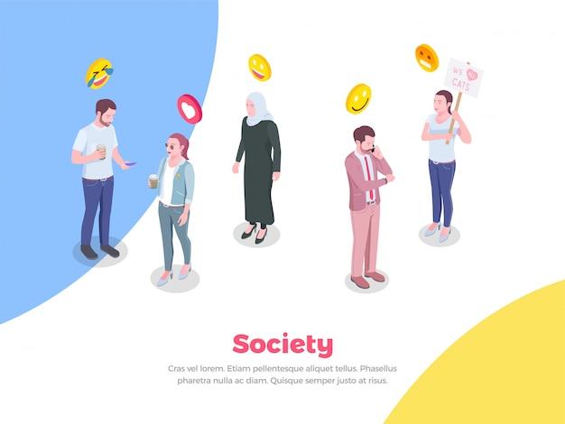 Società persone isometriche con personaggi umani in stile doodle ed emoticon sorrisi di emoji Vettore gratuito