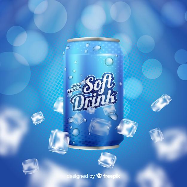 Soda realistica con pubblicità sul ghiaccio Vettore gratuito