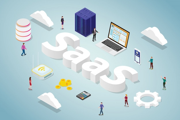 Software saas come concetto di business di servizio con sito web di app per computer di database di server e word con stile moderno isometrico Vettore Premium