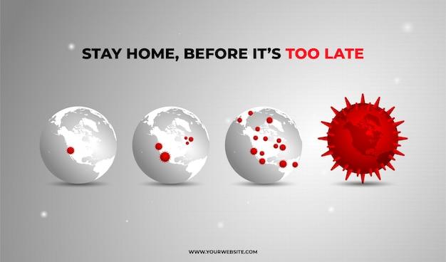 Soggiorno a casa corona globe Vettore Premium