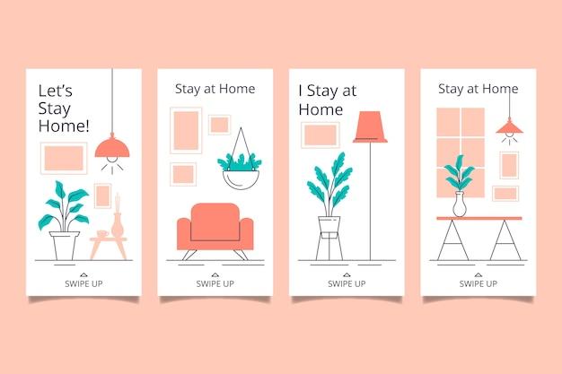 Soggiorno a casa modello di raccolta di storie instagram evento Vettore gratuito