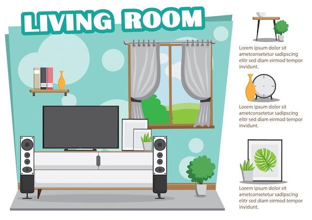 Soggiorno con design di menta con tv e decorazione Vettore Premium