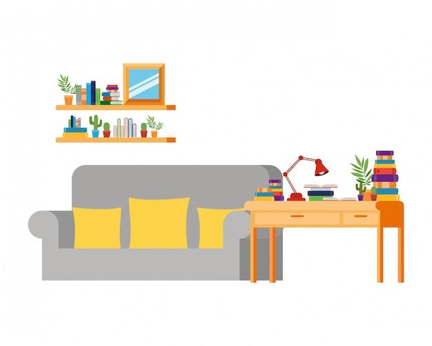 Soggiorno con divano e scrivania con libri Vettore Premium