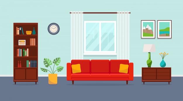 Soggiorno con divano rosso, libreria, torchere, vaso, pianta, dipinti e finestra. illustrazione piatta. Vettore Premium