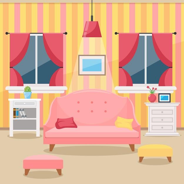 Soggiorno con mobili. interni accoglienti. stile piatto vettoriale Vettore Premium
