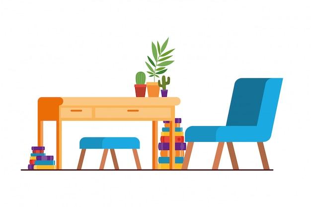 Soggiorno con scrivania e libri Vettore Premium