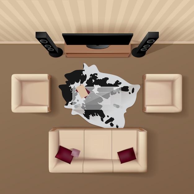 Soggiorno con tappeto in pelle di mucca sotto il tavolo di vetro Vettore gratuito