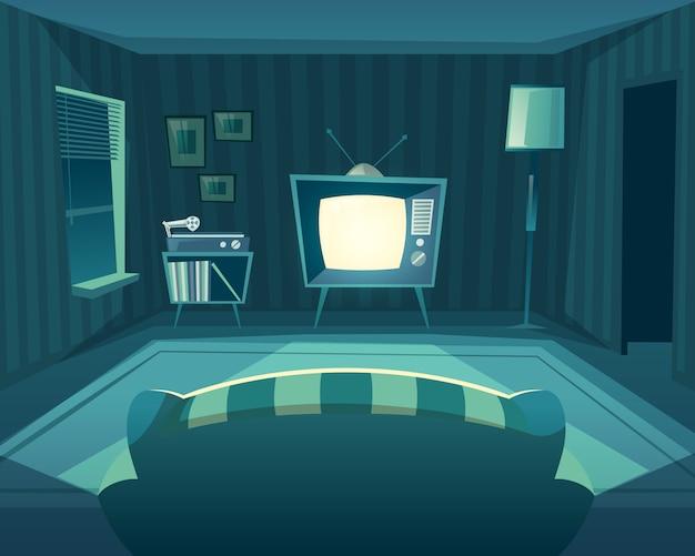 Soggiorno dei cartoni animati di notte. vista frontale dal divano al televisore, lettore in vinile. Vettore gratuito