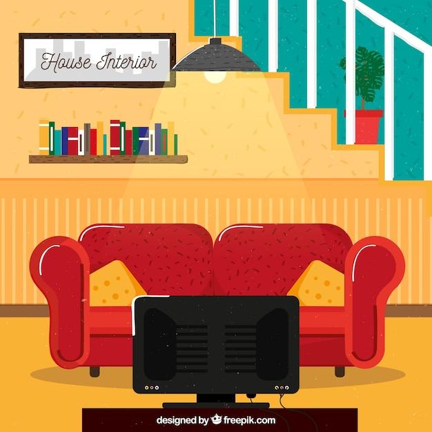 Soggiorno della casa con design piatto scaricare vettori for Design della casa online gratuito