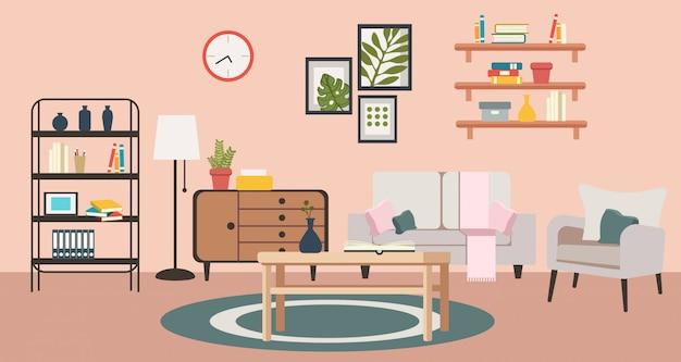Soggiorno di accogliente casa rosa. Vettore Premium