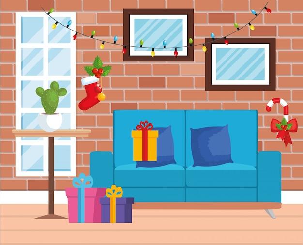 Soggiorno in casa con decorazioni natalizie Vettore Premium