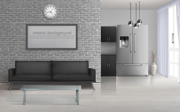 Soggiorno in casa, cucina in studio interni spaziosi in minimalismo Vettore gratuito