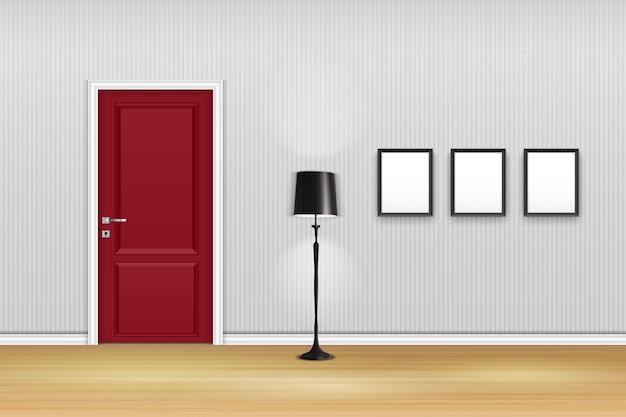 Soggiorno interior design Vettore Premium
