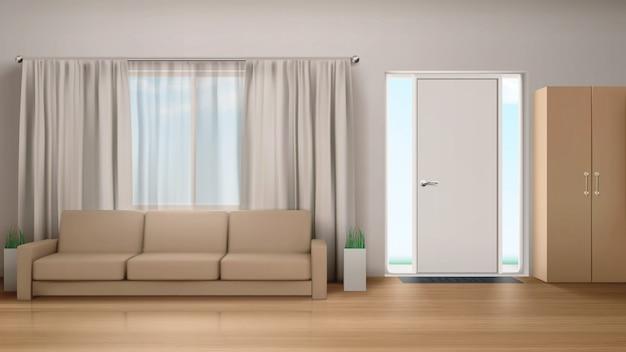 Soggiorno interno con divano e armadio. Vettore gratuito