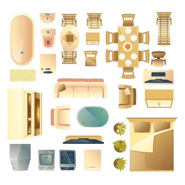 Soggiorno moderno e camera da letto mobili in legno, elettrodomestici da cucina e bagno Vettore gratuito