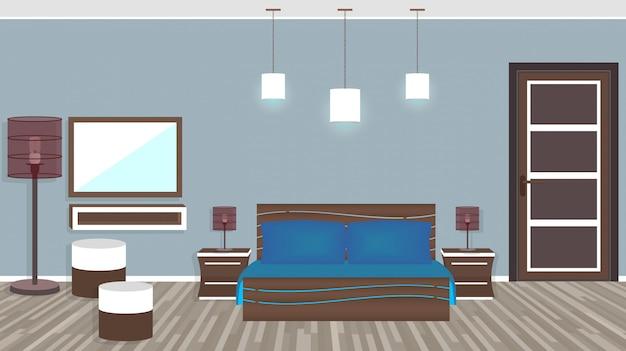 Soggiorno moderno in hotel in stile piatto Vettore Premium