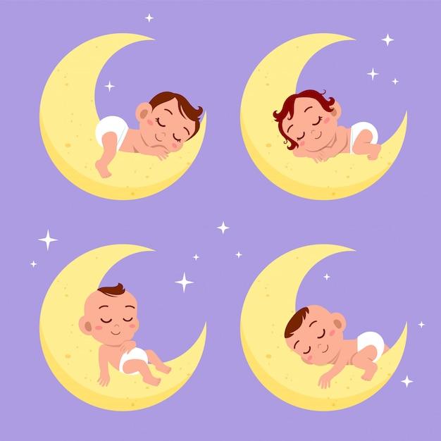 Sogno del sonno del bambino sul set di luna Vettore Premium