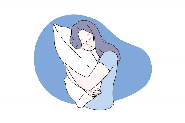 Sogno dolce o concetto di sonno. Vettore Premium