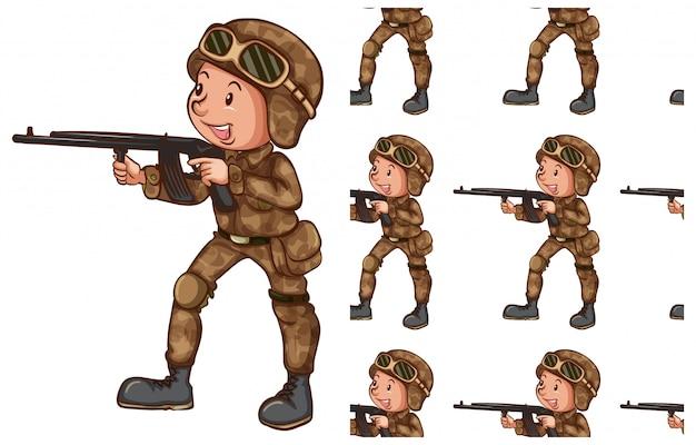 Soldato isolato su bianco Vettore gratuito