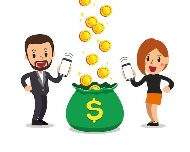 Soldi del guadagno dell'uomo e della donna di affari del fumetto con lo smartphone Vettore Premium