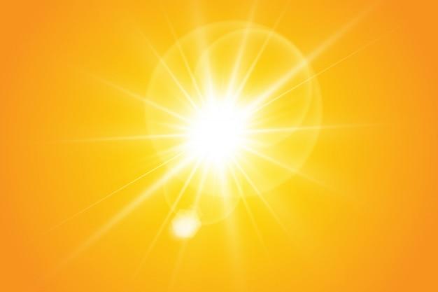 Sole caldo su uno sfondo giallo. raggi solari Vettore Premium
