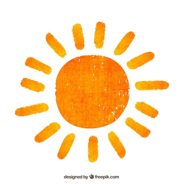 Sole dipinto a mano Vettore gratuito