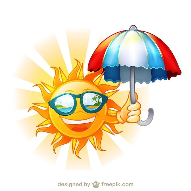 Sole felice con occhiali da e ombrello cartone